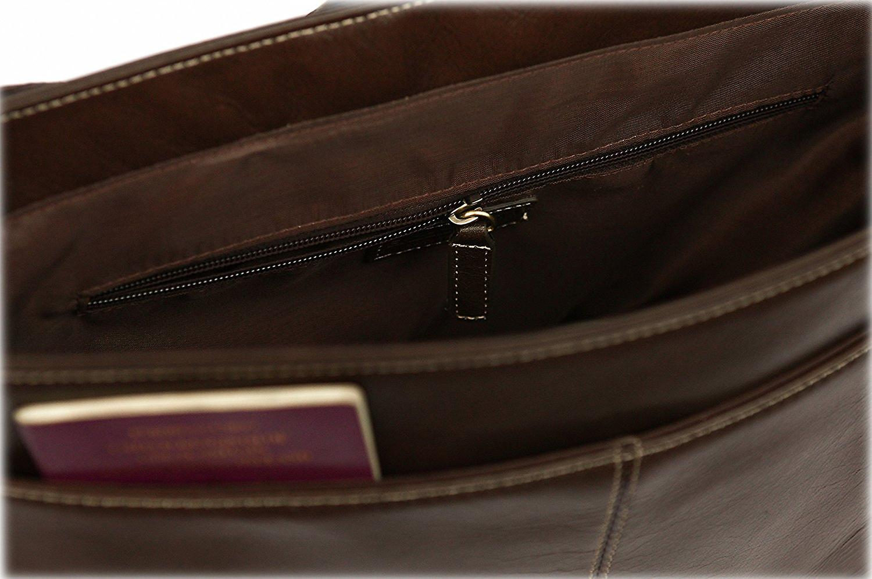 Leather Messenger Bag Cross Body Shoulder Strap Business Case Briefcase Travel (Brown)