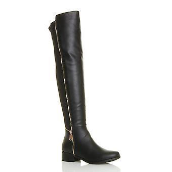 Ajvani damskie wysokie ponad kolana elastyczna krzywego rozciągnąć ściągać na niski obcas buty