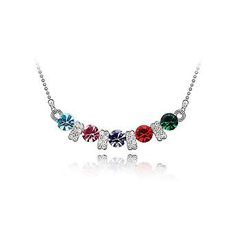 Womens Crystal Multi Colour Stone Pendant Necklace