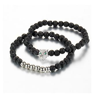 Double Bracelet men and women Stretch black and lava stone silver Panther Head
