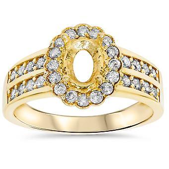 3 / 8ct Oval form diamant Guld Engagement Ring indstilling