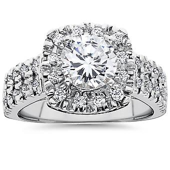1 1/2ct Diamond Cushion Halo Engagement Ring Double Row 14k White Gold
