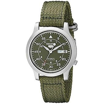 Seiko 5 Men's Automatic Watch With Green Dial Analogue Display And Green Fabric Strap SNK805K2