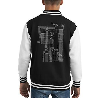 Dragon 32 Computer Schematic Kid's Varsity Jacket