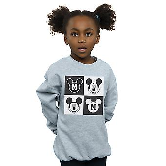 Disney Girls Mickey Mouse Smiling Squares Sweatshirt