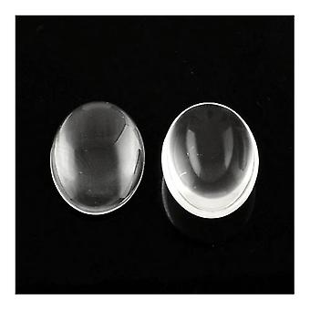 Packet 5 x Clear Glass Flat Back 30 x 40mm Oval 7.5mm Thick Cabochon Y03355