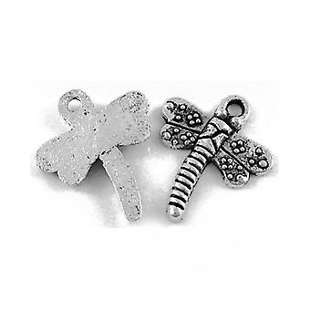 Packet 10 x Antique Silver Tibetan 18mm Dragonfly Charm/Pendant ZX09750
