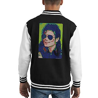 Michael Jackson Sunglasses Neon Pixelated Effect Kid's Varsity Jacket