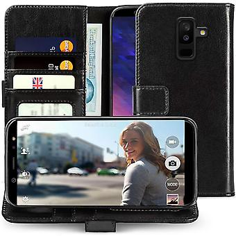 Samsung Galaxy A6 Plus (2018) PU Leather ID Stand Wallet - Black