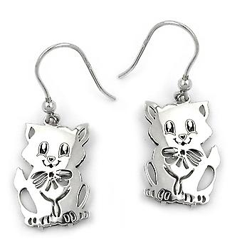 Children's earrings earrings Silver earrings, cat, Silver 925