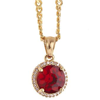 Iced Out Edelstahl Anhänger Kette - Mini Ruby gold