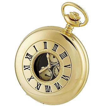 Woodford Gold Plated 3 Eye Half Hunter Quartz Pocket Watch - Gold