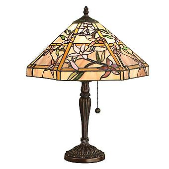 Interiors 1900 Clematis 2 Light Tiffany Glass Table Lamp In Bron
