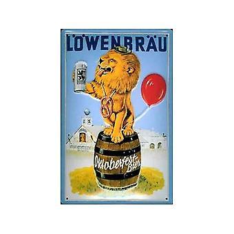 Lowenbrau Lion reliëf staal ondertekenen 300 X 200 Mm