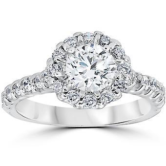 1 3/8ct Halo Diamond Engagement Ring 14K White Gold