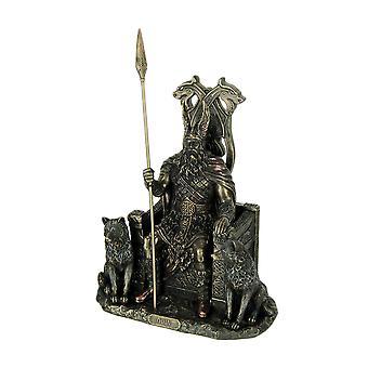 انتهى أودين الله نرويجي على العرش مع الذئاب برونز تمثال