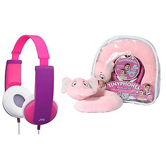 JVC HAKD5TRAV-P Gift Set - Kid's Headphone, Neck Pillow, Backpack & Stickers