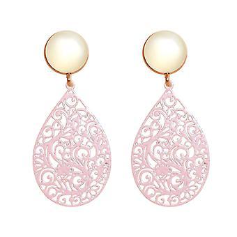 GEMSHINE kvinders øreringe Mandala og hvid Moonstone i sølv, forgyldt, Rose