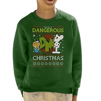 Danger Mouse Dangerous Christmas Knit Pattern Kid's Sweatshirt