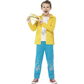 Roald Dahl Charlie Bucket drakt, gul med topp, bukser & gyllen billett