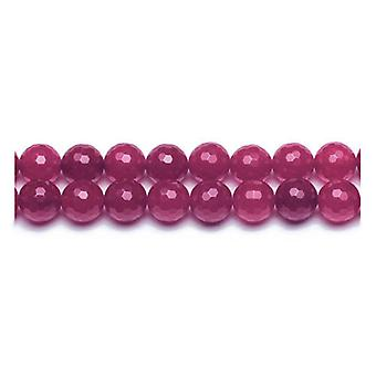 Packet 8 x Fuchsia Malaysian Jade 8mm Faceted Round Beads VP2390