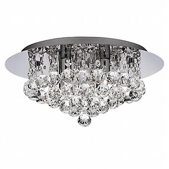 3404-4CC Hanna 4 Light  Crystal Flush Ceiling Light