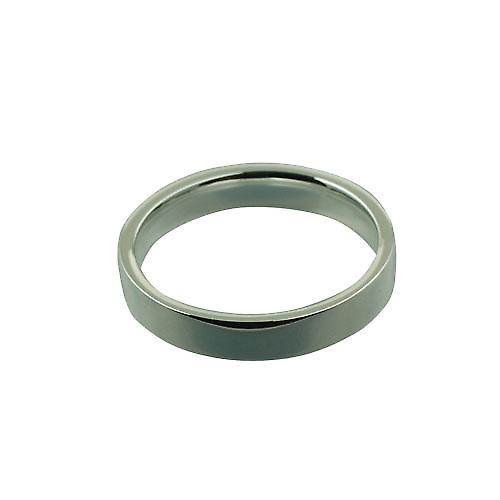 Platinum 4mm plain flat Court shaped Wedding Ring Size S