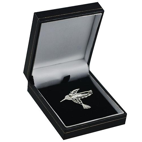 Silver 30x40mm Humming bird Brooch