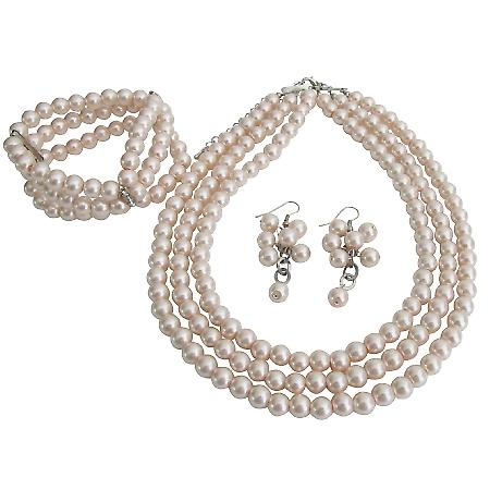 Jewelry Set Perfect Brides Bridesmaids Lite Pink 3 Strands Necklace Bracelet Earrings Set