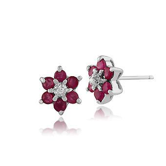 9ct hvitt gull 0,45 ct Ruby & diamant blomster Stud øredobber
