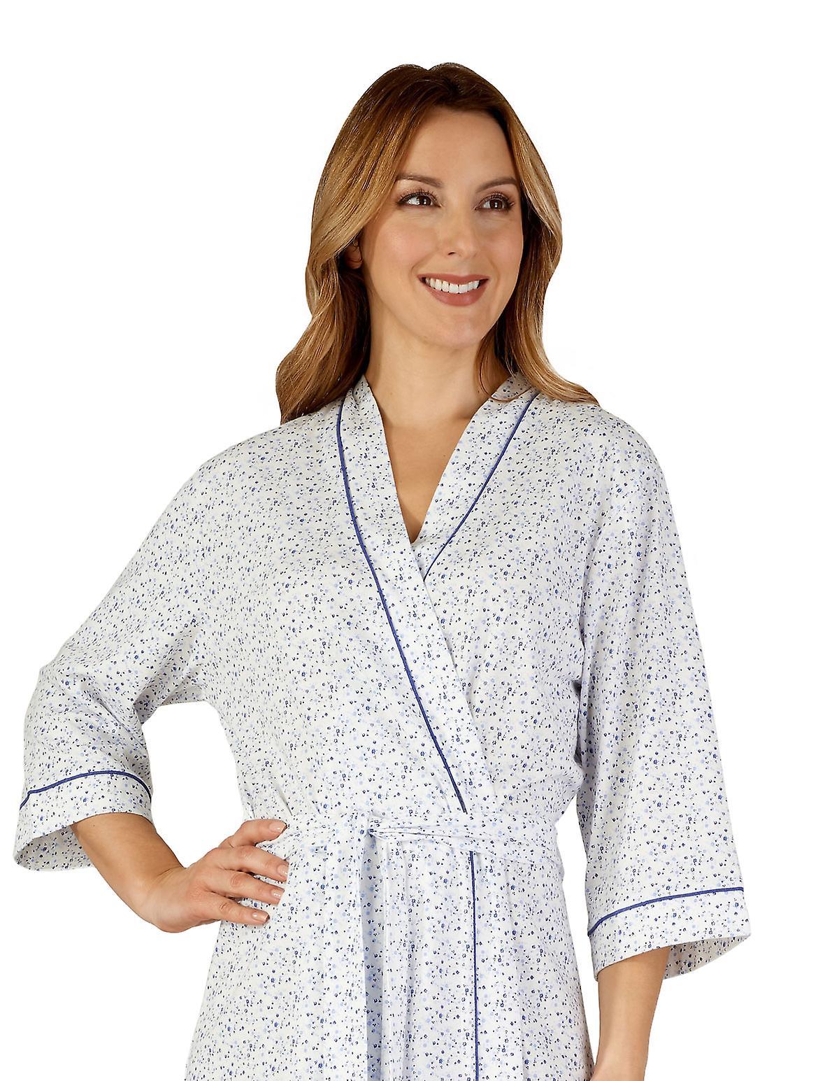 Slenderella HC3115 Women's Cotton Jersey Dressing Gown Loungewear Bath Robe Kimono