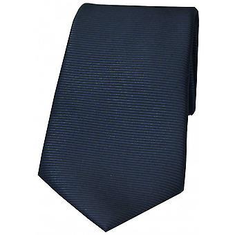David Van Hagen Horizontal Ribbed Polyester Tie - Navy