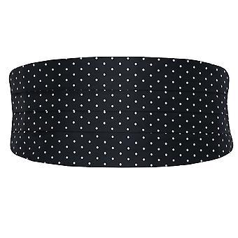 Dobell Mens Black and White Polka Dot Cummerbund Regular Fit