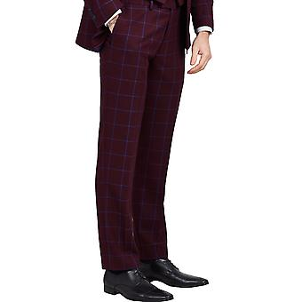 Dobell Mens Burgundy Suit Trousers Slim Fit Notch Lapel Blue Windowpane Check