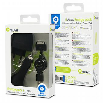 Charger 3 in 1 Apple (transformer, car charger, USB retractable Cable)