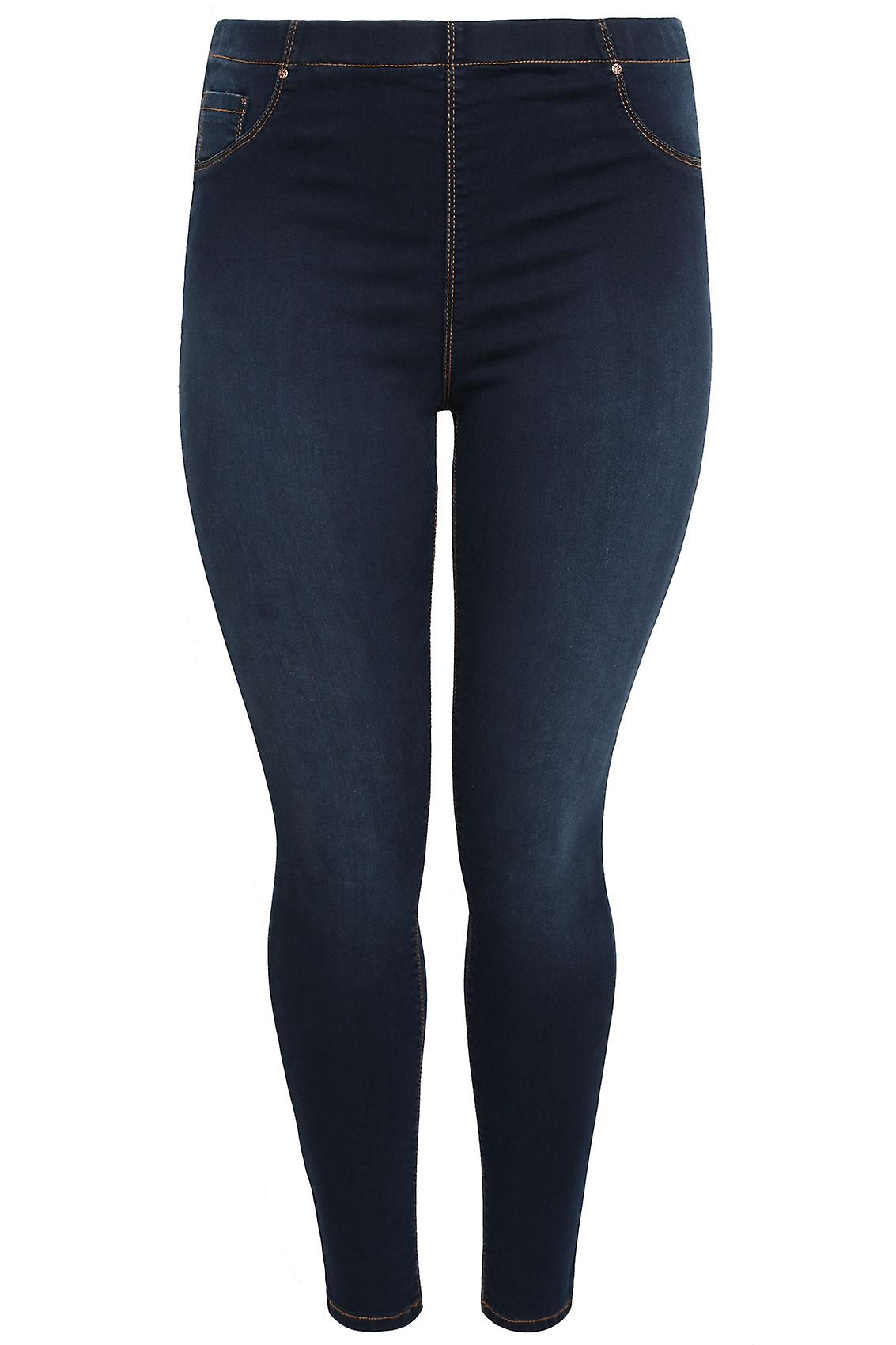 Indigo Blue Denim Jeggings With Faded Leg Detail