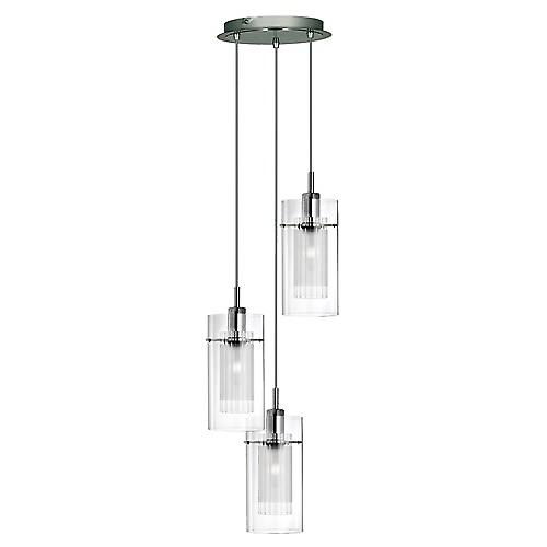Searchlight 2300-3 Duo 3 Light Pendant With Clear Outer And Frosted Inner Glass