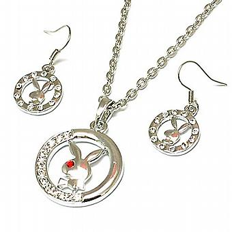 TOC Silvertone Rhinestone Set Open Circle Bunny Earring and Necklace Set