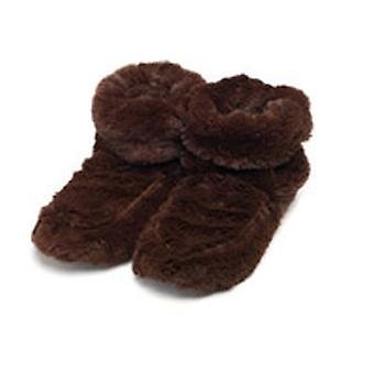 Intelex Cozy Body Microwavable Furry Slipper Boots: Brown