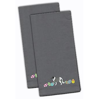 Grey Caucasian Shepherd Easter Gray Embroidered Kitchen Towel Set of 2