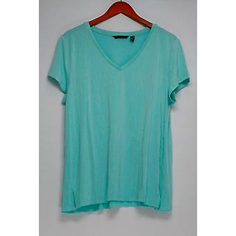 H par Halston Top Essentials Short Sleeve V-Neck Tee Forward Seam Blue A306231