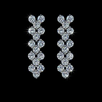 18K Gold Plated 30 Pieces Swiss Cubic Zirconia Drop Earrings, 2.6cm