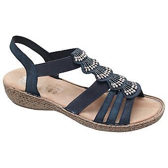 Rieker Open Toe T-bar Blue Dress Sandal