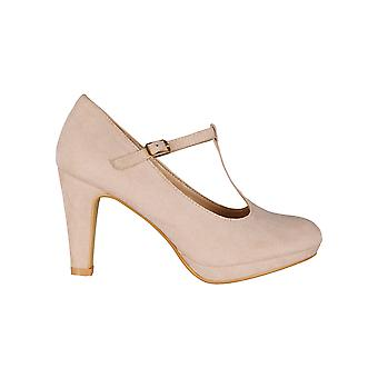 KRISP Chunky Heel T-Bar High Heels