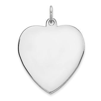 925 Sterling Argent Poli Gravé Engraveable Heart Disc Charm - 1.6 Grammes