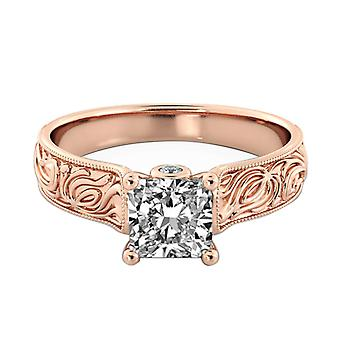 1.46 Carat D SI2 Diamond Engagement Ring 14K Rose Gold Solitaire w Accents Filigree Princess