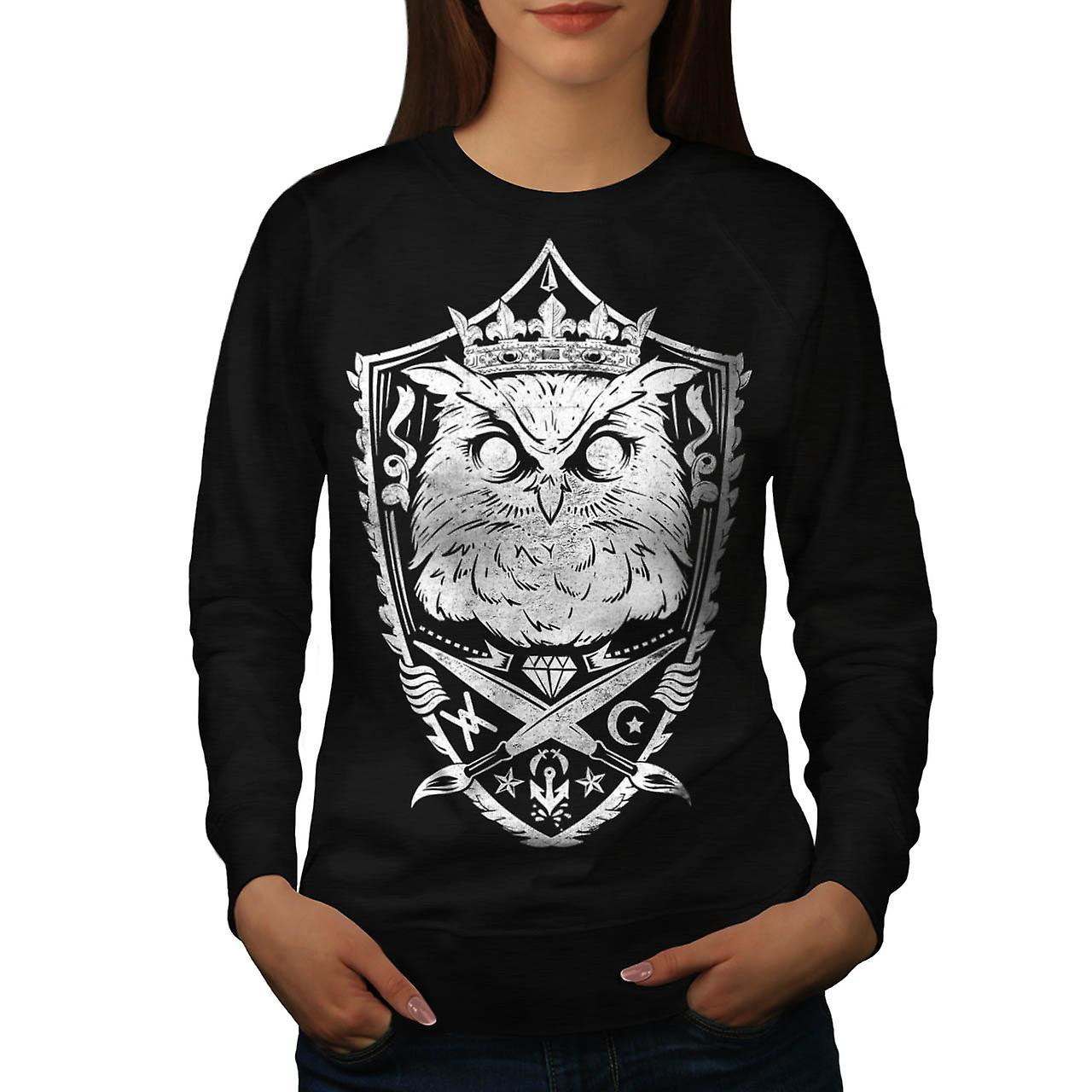Owl King Knight Animal Giant Bird Women Black Sweatshirt | Wellcoda
