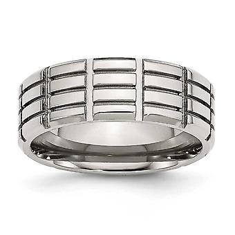 Edelstahl Schlossdrücker 8mm gerillt poliert Bandring - Ring-Größe: 7 bis 13