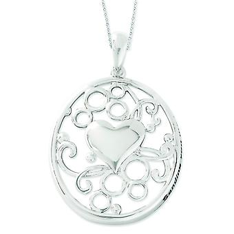 Sterling Silver Antiqued Sending You My Love 18inch Heart Necklace - 4.2 Grams