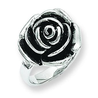 Stainless Steel Oxidized Flower Ring - Size 8